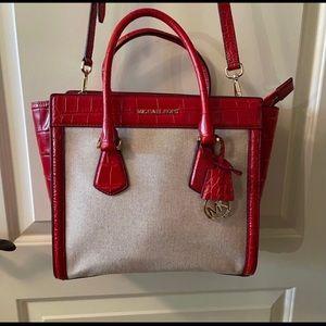 Michael Kor's Handbag, Off White/Red Leather Trim
